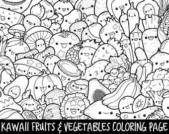 kawaii food coloring pages fresh foods doodle coloring