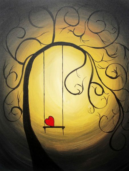 'By The Light Of The Golden Moon' (Acrylic painting by Lorraine Skala) ...red heart and tree swing