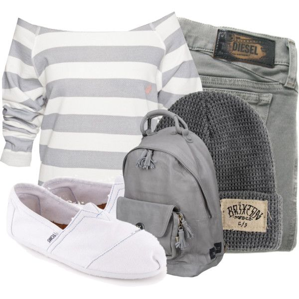 Grey white long sleeve shirt grey high waisted shorts grey Bennie white bobs grey backpack so cute