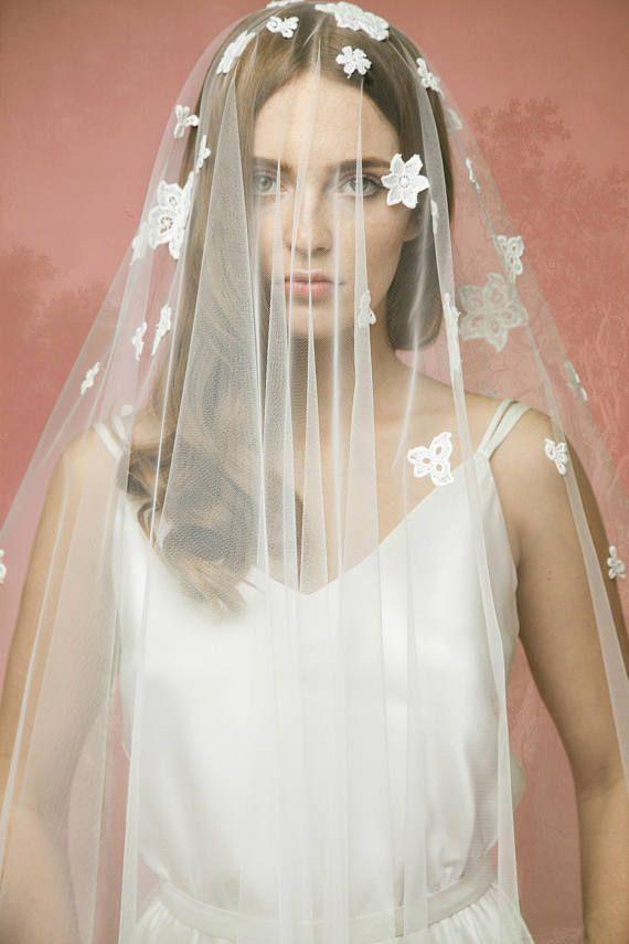 Lace Bridal Veil A10, Lace Wedding Veil, Lace Appl…Edit description