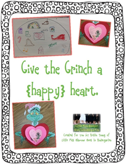 Grinch day. writing. make the Grinch's heart grow 3 sizes.