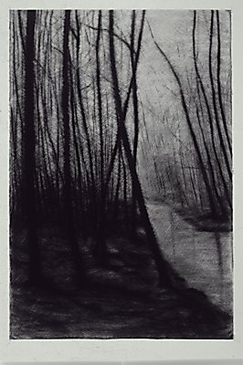 "Linda Kane Wa'ahila in the Mist Charcoal on Paper 60"" x 40"" SOLD"