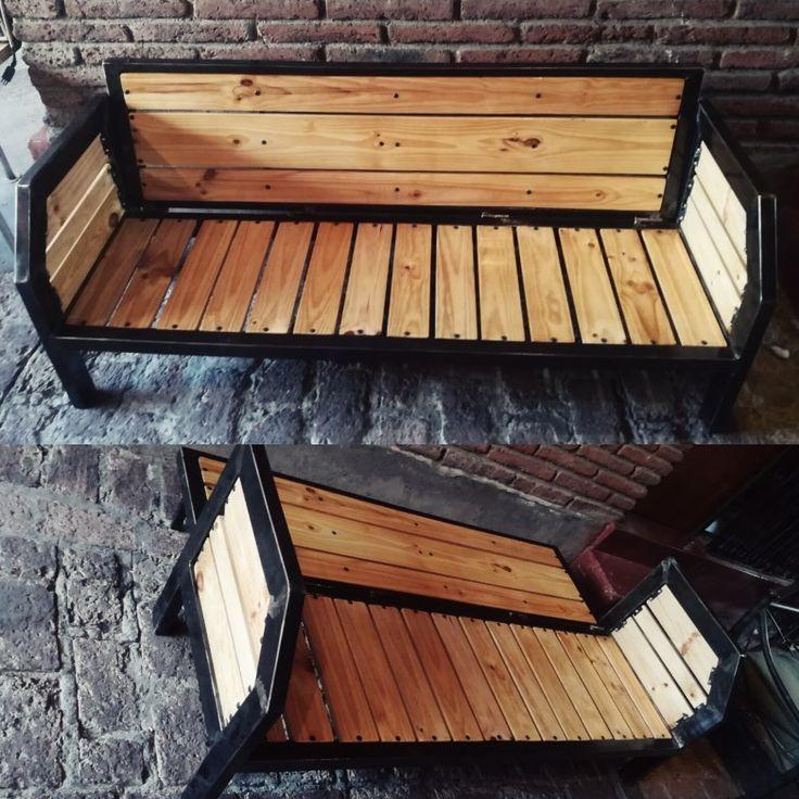 Sillón - Futón acero madera terminación rústica. Mueble terraza
