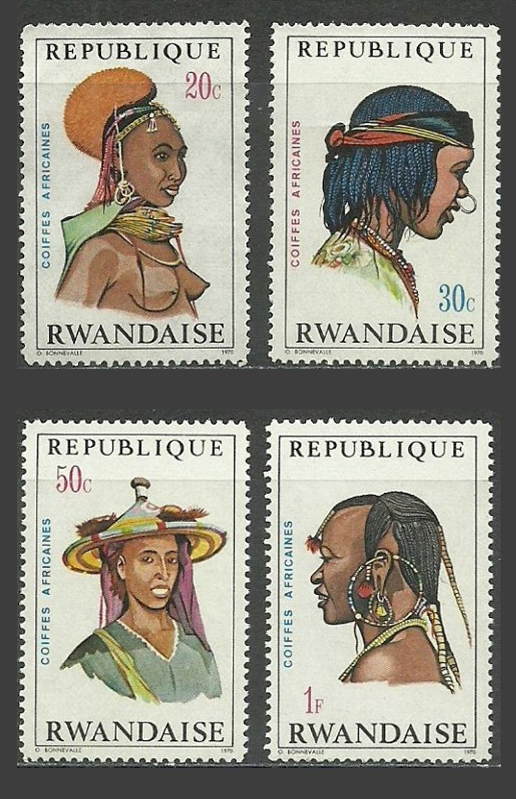 Traditional African hairstyles / headdress || Stamps from Rwanda.  1971