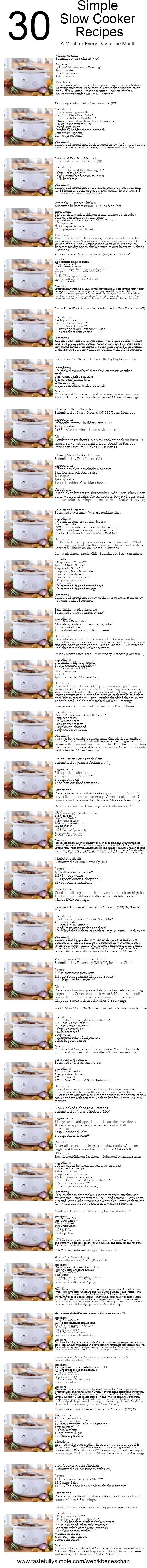 Slow cooker recipes using Tastefully Simple products! (repinned from Kay Limon…