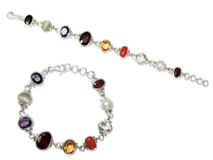 Navratna Bracelet in Pure Silver, Buy Navratna Bracelet in Pure Silver online from India.