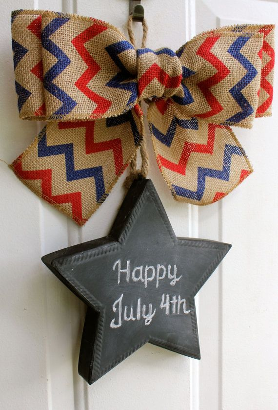 Patriotic Burlap Sign CHALKBOARD Star Door Hanging Red & Blue Chevron Bow Wreath 4th of July Independence Labor Day Door Decor Wreath Alternative Front Door Decoration #summertimedecor  #4thofjuly Chalk it Up Decor