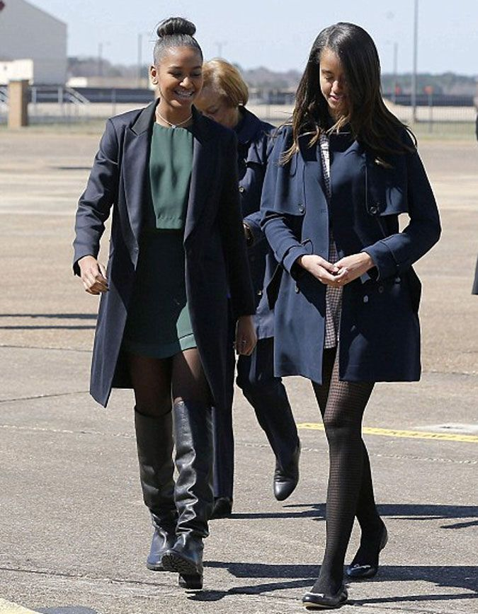 accras:  Obama daughters Sasha & Malia arriving at Maxwell Air Force Base in Montgomery, AL,  3/7/15.