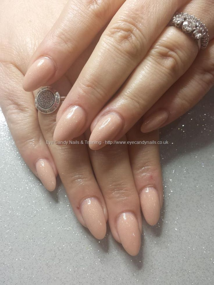 Nude acrylic almond shaped nails