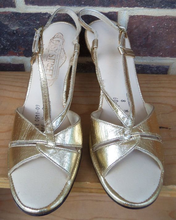 Vintage Prom Shoes 70s Gold Slingback by The5thHouse on Etsy, $26.00