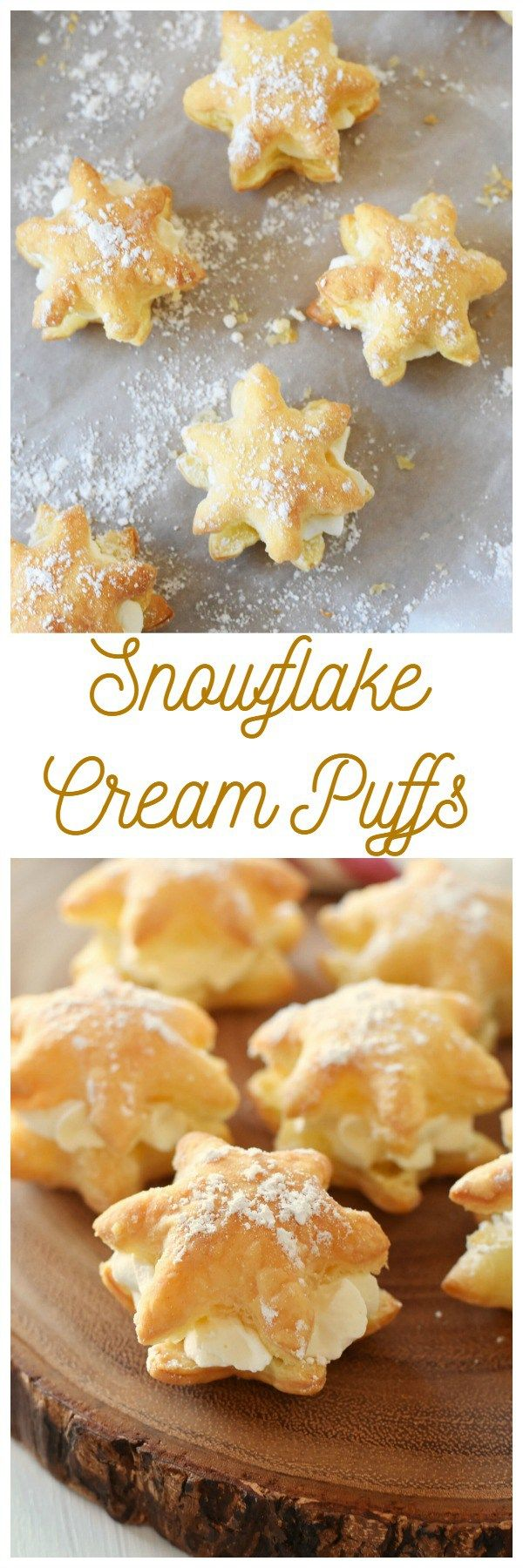 20 Minute Snowflake Cream Puffs- Looking for a quick and easy bakery-style dessert? These snowflake cream puffs are for you then! They are made with real whipped cream.