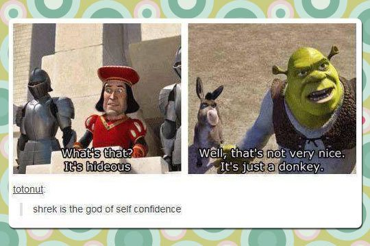 Shrek has a lot of self confidence.