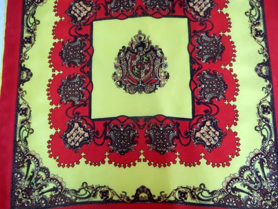 Vintage scarf made in Japan yellow and red by CHEZELVIRE on Etsy, $10.00