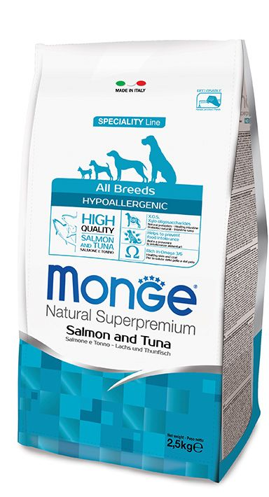 ALL BREEDS HYPOALLERGENIC SALMON AND TUNA Kibbles Monge Natural Superpremium Speciality Line Hypoallergenic with Salmon and Tuna are a complete and balanced food for all breeds adult dogs that require highly digestible foods.