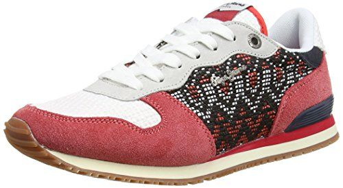 Pepe Jeans London GABLE ETHNIC, Damen Sneakers, Rot (258RED HOT), 37 EU - http://uhr.haus/pepe-jeans/pepe-jeans-london-gable-ethnic-damen-sneakers-rot