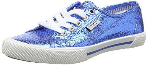 Pepe Jeans London ABERLADY METAL, Damen Sneakers, Blau (552REGAL BLUE), 38 EU - http://uhr.haus/pepe-jeans/38-eu-pepe-jeans-damen-aberlady-metal-sneakers