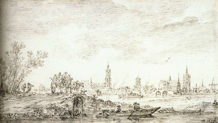 GOYEN, Jan van View of Delft from the North 1653 Black chalk, brush and gray ink, 117 x 210 mm British Museum, London