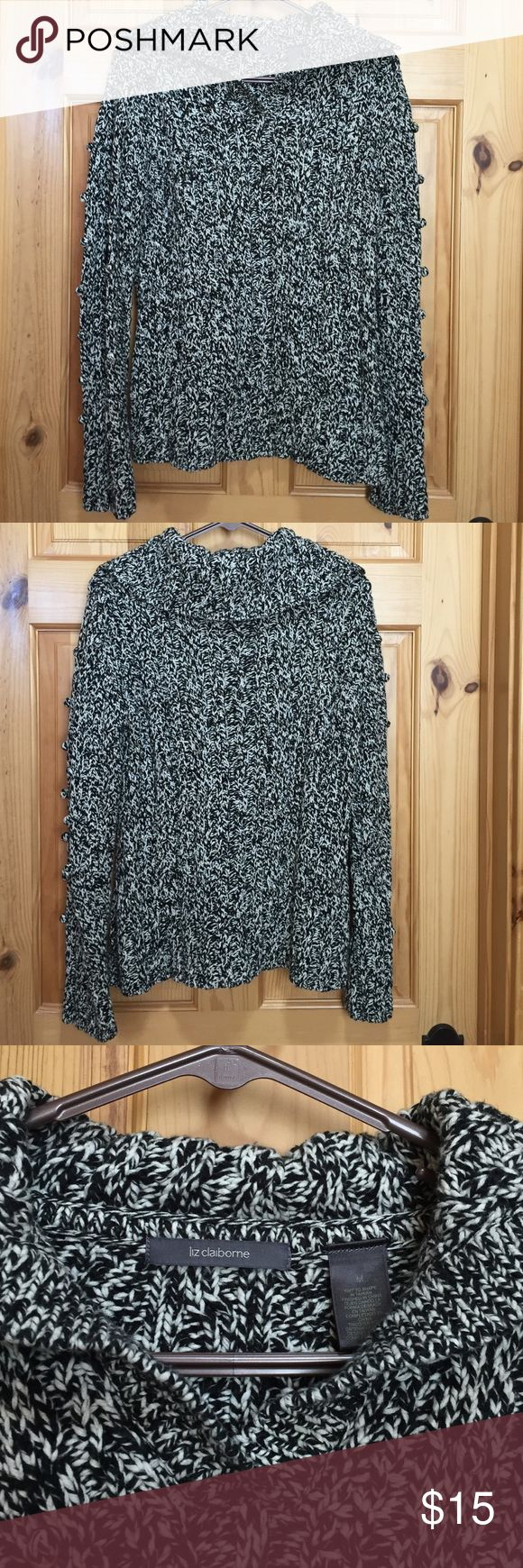Liz Claiborne sweater Very fun  and beautiful Liz Claiborne sweater with small pom  pom embellishments Liz Claiborne Sweaters V-Necks