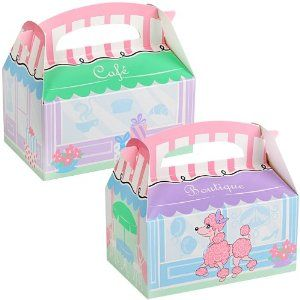 """Pink Poodle in Paris Empty Favor Boxes (4) by BirthdayExpress. Save 5 Off!. $2.85. Includes 4 empty boxes. Each measures 6"""" wide x 4"""" high x 3"""" deep."""