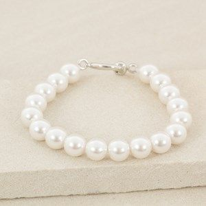 10mm Faux Pearl Toggle Stretch Bracelet