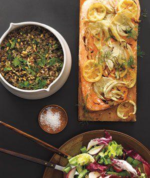 Fish BBQ: Food Recipes, Snap Peas, Grilled Menu, Nut Salad, Barbecue Recipes, Bbq Recipes, Wild Rice, Pine Nut, Planks Gril Salmon