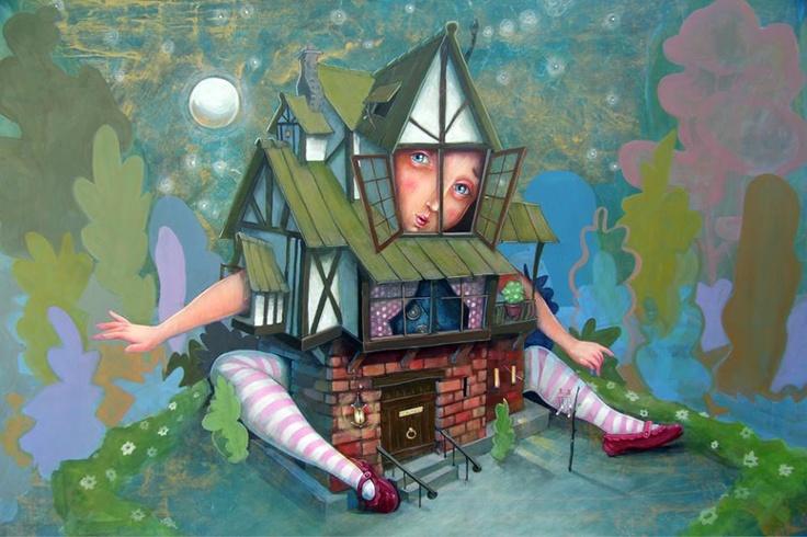 """Alice's Adventures in Wonderland - """"The white rabbit house"""" ---- Título: """"La Casa del Conejo Blanco"""" Técnica/soporte: Mixta sobre madera Dimensiones: 500mm x 700mm La obra ilustra el capitulo IV, de """"Alicia en el País de las Maravillas"""", titulado """"La habitación del Conejo Blanco"""" — en TEA Tenerife Espacio de las Artes. -"""
