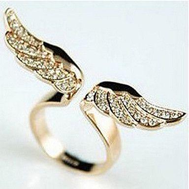 EUR € 2.75 - Alas de ángel de oro llena de anillos de diamantes modelos femeninos anillo del diamante del oro, ¡Envío Gratis para Todos los Gadgets!