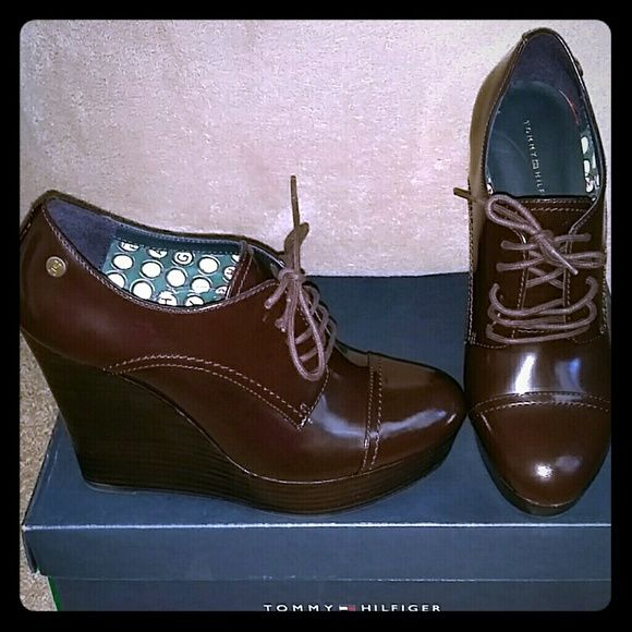 Tommy Hilfiger Shoes (Oxford Wedges...) Brown Oxford Wedges never worn fits like an 8 Tommy Hilfiger Shoes