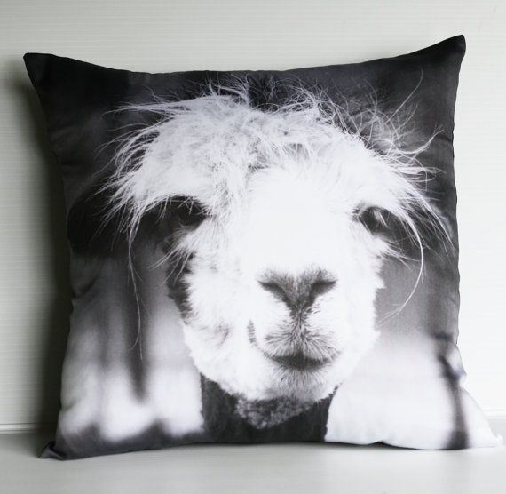LLAMA CUSHION COVER  pillow decorative pillow by mybeardedpigeon, $49.00