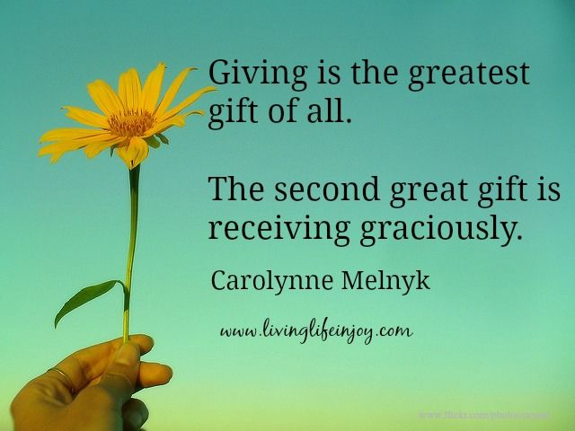 Giving and receiving form a circular expression of love.