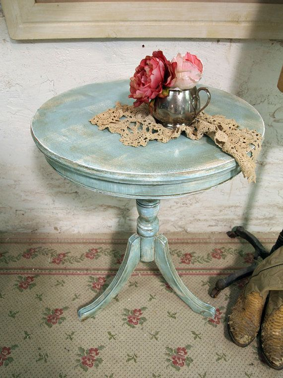 Painted Cottage Chic Shabby Aqua Round Side by paintedcottages