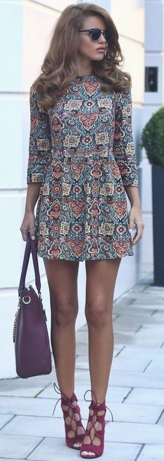 #september #trending #outfits   Fall Print Dress