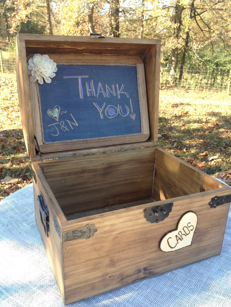 EXTRA Large Rustic Wooden Card Box - Rustic Wedding Card Box - Shabby Chic Wedding Card Box - Program Box - Treasure Chest. $65.00, via Etsy.