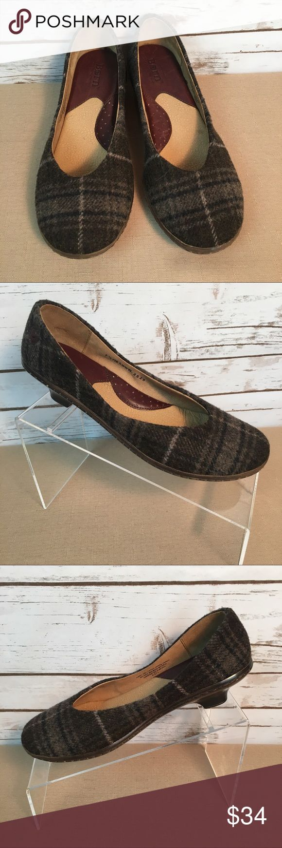 Born Plaid Wool Kitten Heels Born Brown Plaid Wool Kitten Heels.  Used-Gently worn.  Medium width. Born Shoes Heels