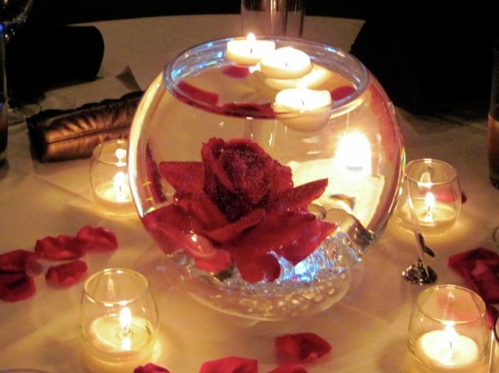 Submerged rose in bubble bowl