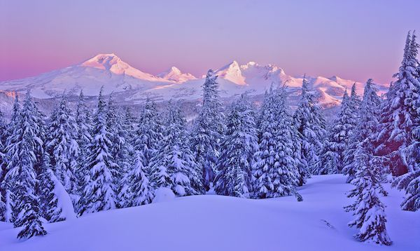 Fresh Snow on the Central Oregon Cascades, near Bend, Oregon.  This wintry image was captured from the summit of Tumalo Mountain..