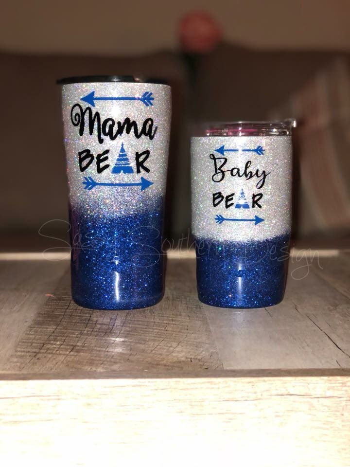 Mama Bear Baby Bear Blue Tumbler Glitter Tumbler Cups