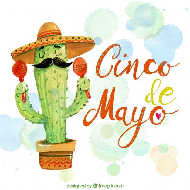 Simpático fondo de acuarela con cactus mexicano  Vector Gratis