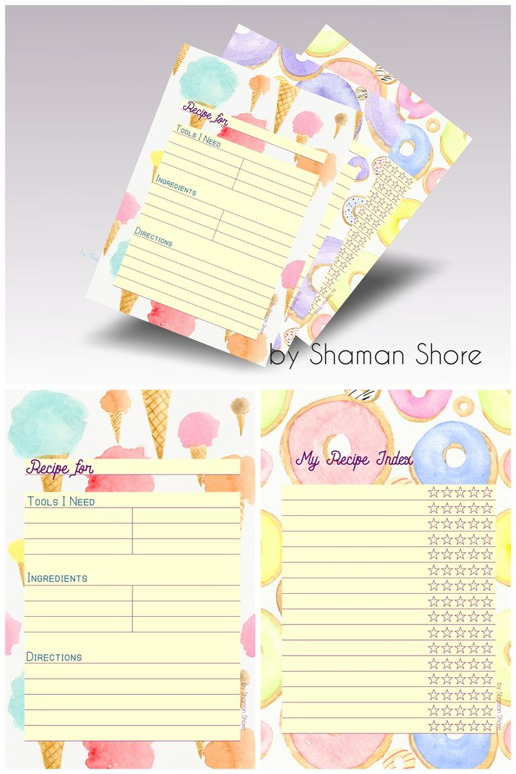 Fun printable recipe cards for kids, blank recipe ...