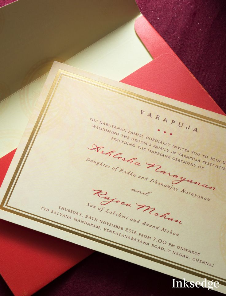 Varapuja Invitations with golden foiled border Find