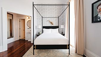 """Country Living Sweepstakes:  Find the hidden horseshoe in our September issue to enter to win a four-poster """"Josephine"""" bed from Doorman Designs."""