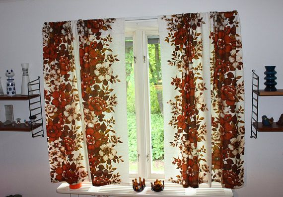 Decorative vintage retro 70s pair of Curtain lengths with