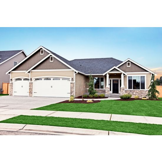Ruby Rambler With A 3 Car Garage Beige Exterior Paint