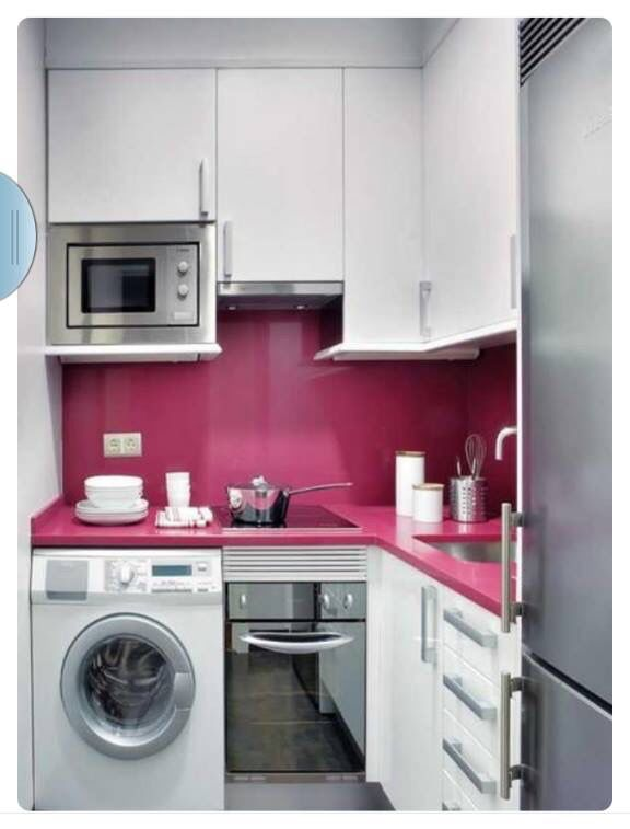 Modern compact tiny house kitchen.