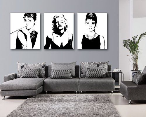 Espritte Art-Large Classic Marilyn Monroe and Audrey Hepburn Picture Painting on Canvas Print without Framed, Modern Home Decorations Wall Art set of 3 Each is 40*50cm #D03-336 Celebrity Canvas Print http://www.amazon.com/dp/B00LL1V4DE/ref=cm_sw_r_pi_dp_mxAjub03T845K