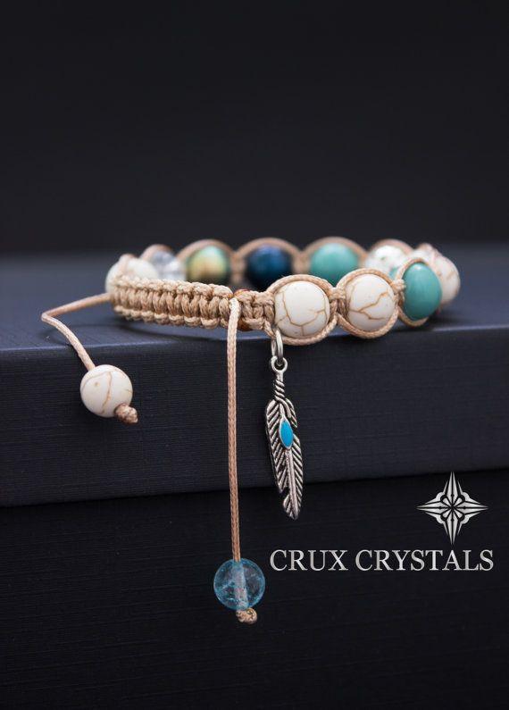 Pluma del pavo real, el encanto de las mujeres del estilo de Shamballa pulsera piedras preciosas pulsera nudo cristales Swarovski perlas cuarzo turquesa blanco turquesa cuentas