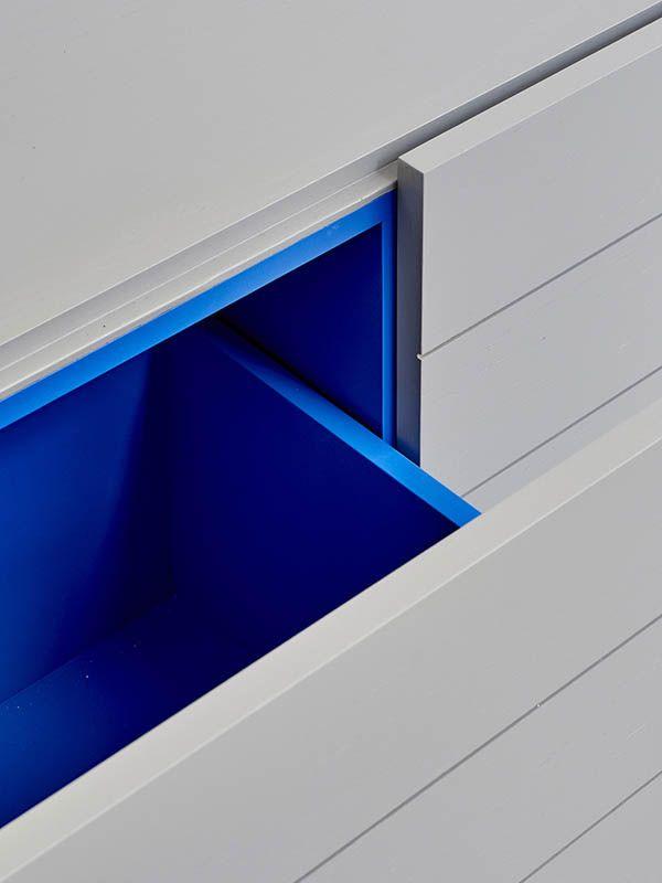 Grey drawers with blue interior | Fiona Lynch | Design Hunter