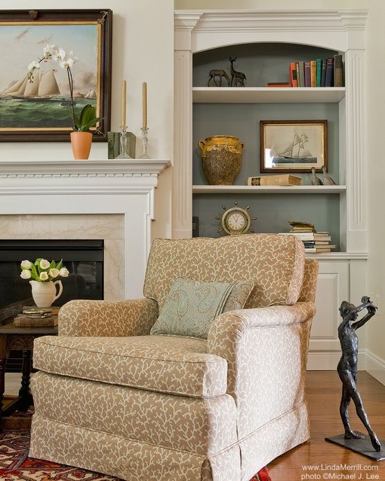 Linda Merrill Portfolio-Duxbury-Casual LIving Room 4-Interior Design-Massachusetts, New England style, tan arm chair, Thibaut fabric, book cases, display shelves, sculpture, mantle