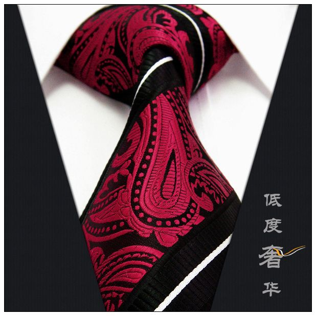 Paisley Stripes Black Red White Mens Necktie Ties 100% Silk Jacquard Woven(China (Mainland))