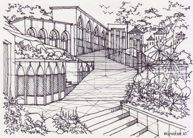 Landscape Architecture Drawing Techniques three-point perspective drawing landscape design   drawing and